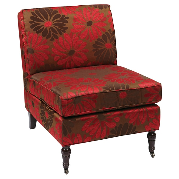 Madrid Accent Chair with Chrysanthemum Floral Print and Solid Wood Caster  Legs