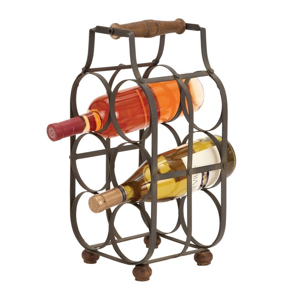 Metal Wine 6-bottle 16-inch Holder with Handle