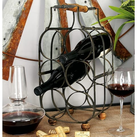 Farmhouse 16 x 8 Inch Metal 6-Bottle Wine Holder by Studio 350