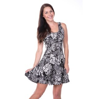 White Mark Women's Floral and Paisley Printed Fit-and-Flare Dress