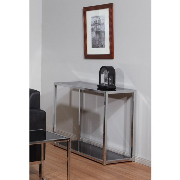 Home Goods Foyer Table : Ave six yield chrome and black glass foyer table free