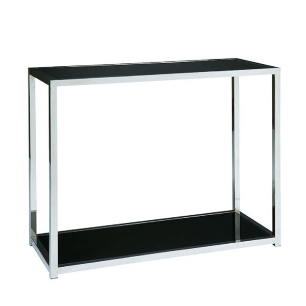 Ave Six Yield Chrome And Black Glass Foyer Table   Free Shipping Today    Overstock.com   16301356