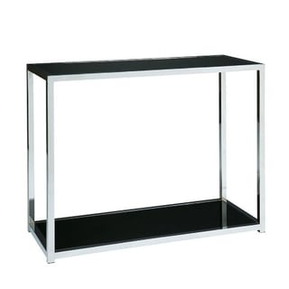 Ave Six Yield Chrome and Black Glass Foyer Table