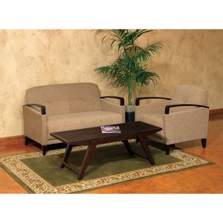 Main St. Loveseat with EasyClean Interlace Fabric & Espresso Finish Wood Arms & Legs