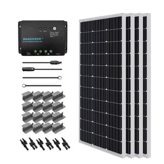 Renogy Solar Starter Kit: 400W Monocrystalline 12V w/ 4 100W Solar Panel/ 20 ft. Ad Kit/ 30A Cnt/ MC