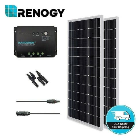 Renogy 200W 12V Mono Solar Panel Bundle Kit Negative Ground Controller Off Grid