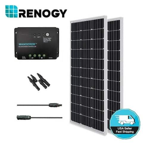 Renogy 200W 12V Monocrystalline Solar Bundle Kit w/ Wanderer 30A