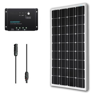 Renogy Solar Bundle Kit: 100W Monocrystalline 12V Solar Panel/ 30A Charge Controller/ MC4 Adapter Kit