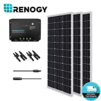 Renogy Solar Bundle Kit: 300W Monocrystalline 12V with 3 100 W Panels/ 30A Controller/ MC4 Branch Connector/ MC4 Adapter Kit