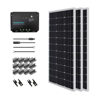 Renogy Solar Starter Kit: 300W Monocrys w/ 3 100W Panels/ 20ft. Adaptor Kit/ 30A Cont/ MC4 Branch Conn/ Z Bracket