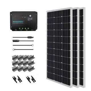 Renogy Solar Starter Kit: 300W Monocrys w/ 3 100W Panels/ 20ft. Adaptor Kit/ 30A Cont/ MC4 Branch Conn/ Z Bracket