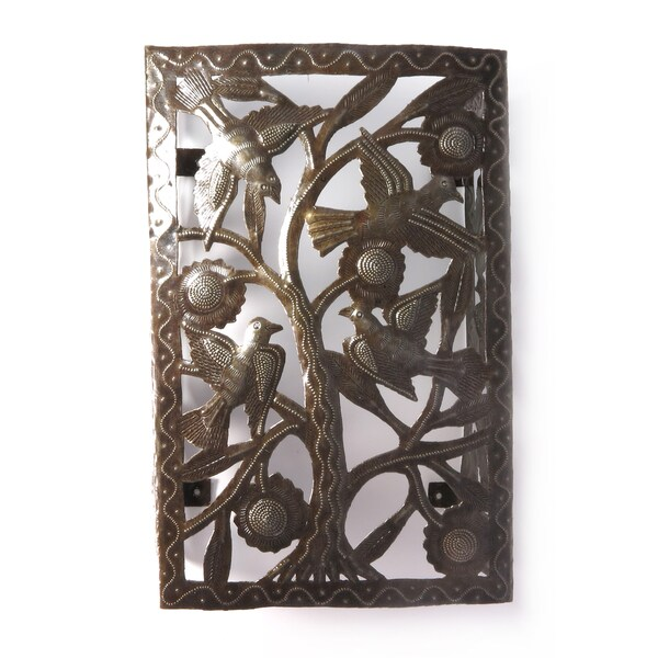Handcrafted Recycled Steel Drum Tree of Life Wall Sconce (Haiti)