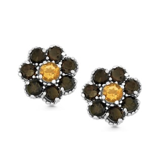 La Preciosa Sterling Silver Smoky Quartz and Citrine Flower Stud Earrings