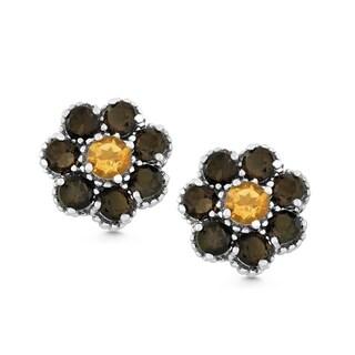 La Preciosa Sterling Silver Smoky Quartz and Citrine Flower Stud Earrings