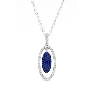 La Preciosa Sterling Silver White and Blue Micro Pave Cubic Zirconia Oval Earrings
