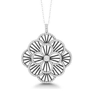 La Preciosa Sterling Silver and Black-plated Cubic Zirconia Flower Pendant