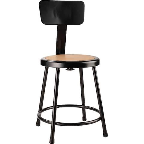 NPS Heavy Duty Steel Stool With Backrest, Black