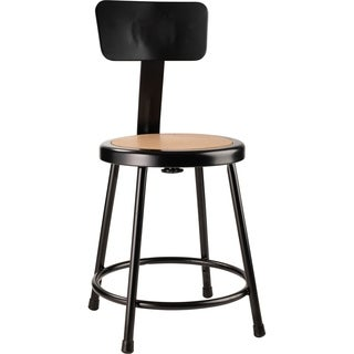 Black Stool with Round Hardboard Seat and Backrest