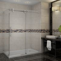 Aston Langham 60-in x 35-in x 77.5-in Completely Frameless Sliding Shower Enclosure in Chrome w. Base