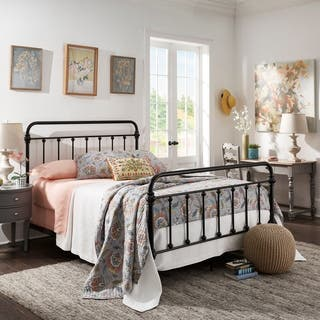 Giselle Antique White Graceful Lines Victorian Iron Metal Bed by iNSPIRE Q Classic|https://ak1.ostkcdn.com/images/products/9116507/P16301475.jpg?impolicy=medium