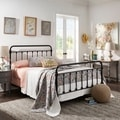 Giselle Antique White Graceful Lines Victorian Iron Metal Bed by TRIBECCA HOME