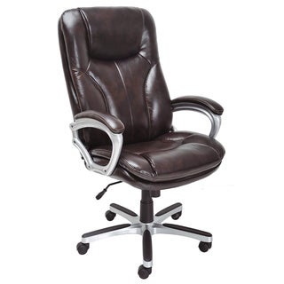 Serta Puresoft Faux Leather Roasted Chestnut Executive Big and Tall Office Chair