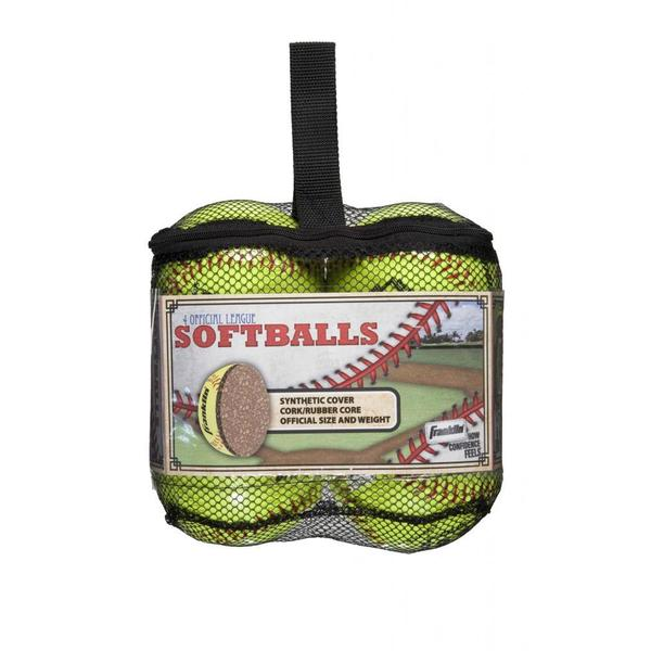 Franklin Sports Official League Yellow Softballs (Pack of 4)