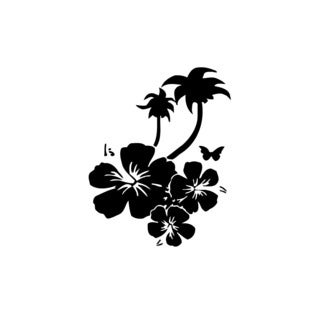 Palm Tree With Flower Root Vinyl Wall Art