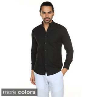 Handmade In-Sattva Anita Dongre Men's Mandarin Collar Button-down Shirt (India)