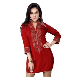 Handmade Rust Crepe Embroidered Indian Kurti/ Tunic (India)