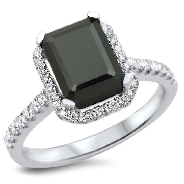 Noori 18k White Gold 2 1/10ct TDW Black Diamond Emerald Cut Engagement Ring
