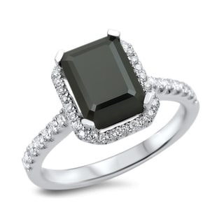Noori 18k White Gold 2 1/10ct TDW Black Diamond Emerald Cut Engagement Ring