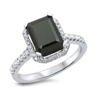 Noori 18k White Gold 2 1/10ct TDW Certified Black Diamond Emerald Cut Engagement Ring