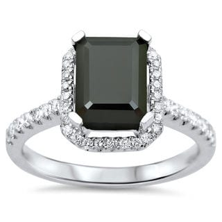 Noori 18k White Gold 1 2/5ct TDW CertifiedBlack and White Diamond Emerald Cut Engagement Ring (VVS1-