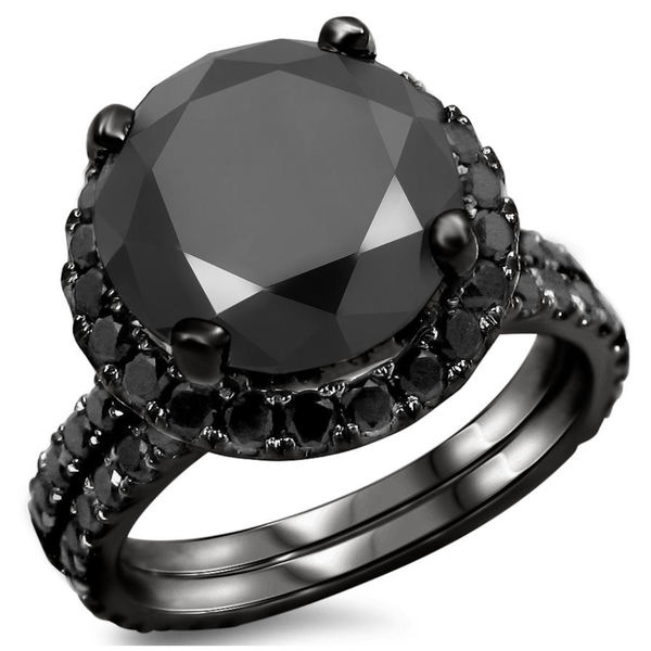 Noori 14k Black Gold 4ct TDW Black Diamond Engagement Ring Bridal Set