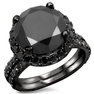 Noori 14k Black Gold 4ct TDW Certified Black Diamond Engagement Ring Bridal Set