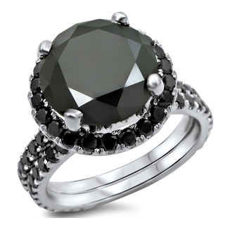 Noori 14k White Gold 4ct TDW Certified Black Diamond Engagement Ring Bridal Set