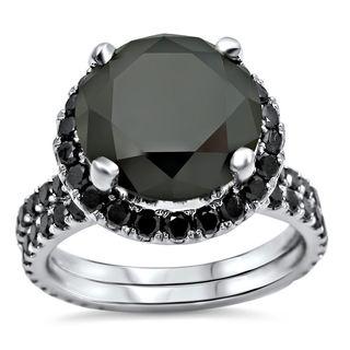 Noori 14k White Gold 5 1/4ct TDW Certified Black Diamond Engagement Ring Bridal Set (VVS1-VVS2)