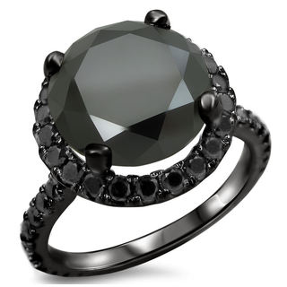 Noori 14k Black Gold 4 4/5ct TDW Certified Black Diamond Engagement Ring