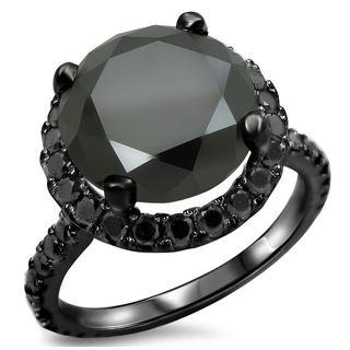 Noori 14k Black Gold 4 4/5ct TDW Certified Black Diamond Engagement Ring