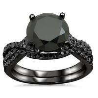 Noori 18k Black Gold 2 3/5ct TDW Certified Black Diamond Engagement Ring Bridal Set