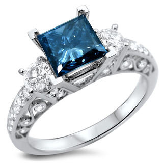 Noori 18k White Gold 1 3/5ct TDW Certified Blue and White Diamond 3-stone Ring
