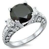 Noori 18k White Gold 2 3/5ct TDW Certified Black and White Diamond 3-stone Ring