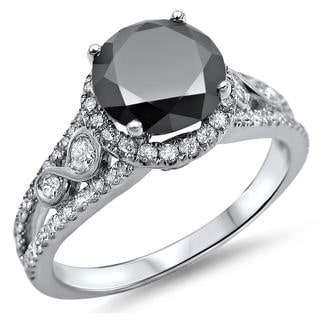 Noori 14k White Gold 2ct Certified Black Round Diamond Halo Engagement Ring