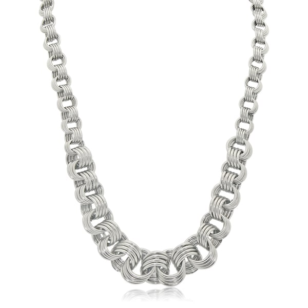 Gioelli Sterling Silver Graduated Rolo Link Necklace