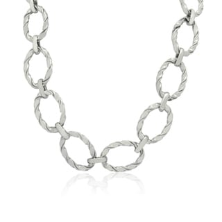 Gioelli Sterling Silver Twisted Oval Link Necklace