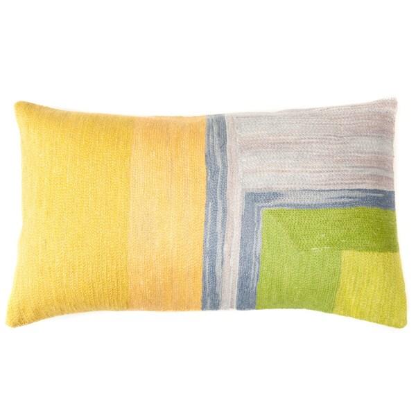 Handmade Chain Green and Yellow Decorative Pillow