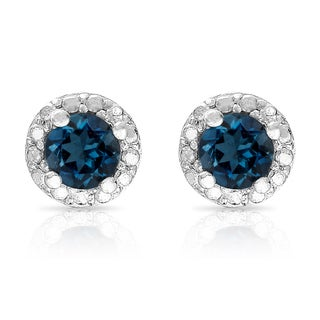 Dolce Giavonna Sterling Silver London Blue Topaz Circle Stud Earrings
