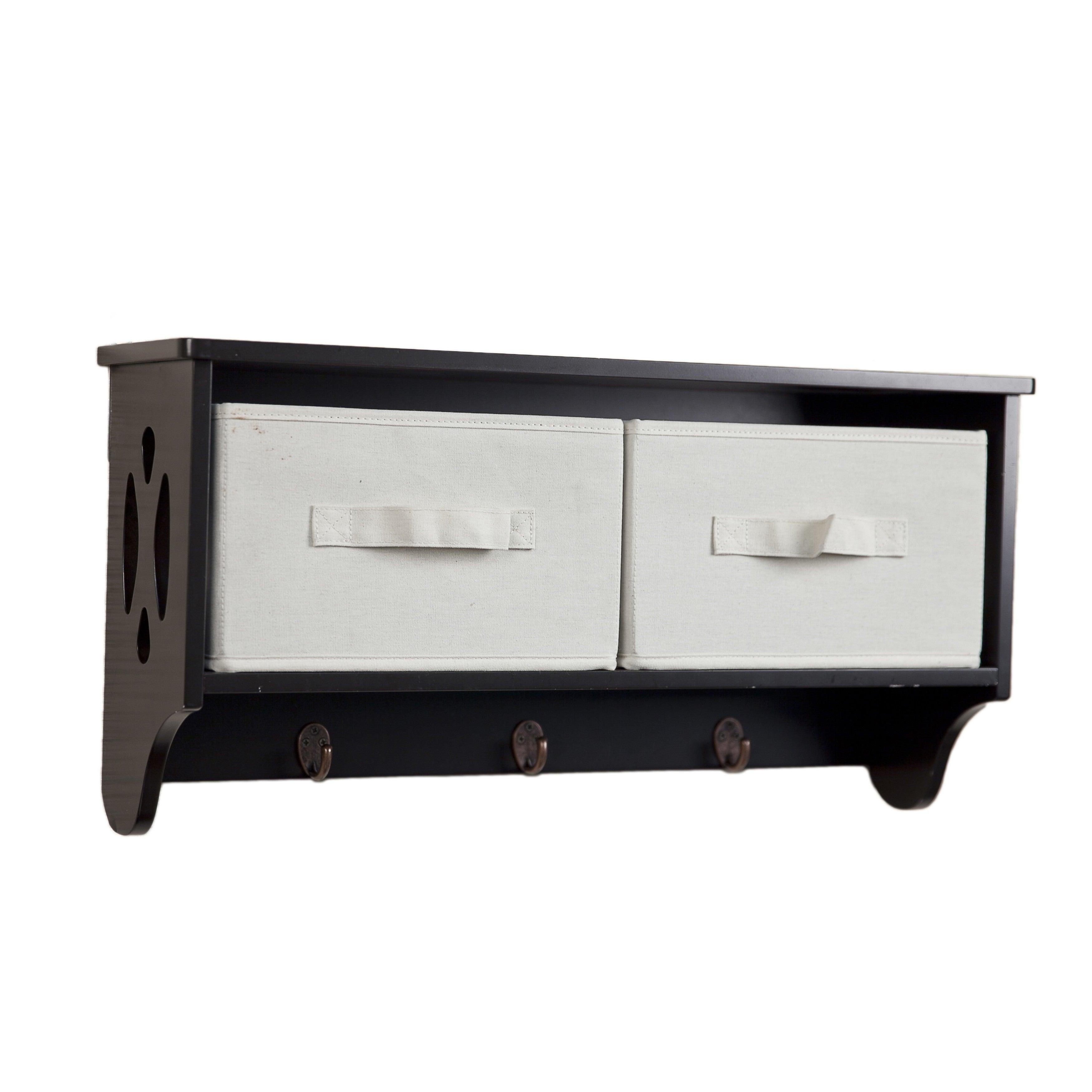 DANYA B. Entryway Storage Wall Shelf with Canvas Bins and...