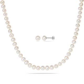 Miadora Silvertone Two-Piece Set of White Cultured Freshwater Pearl Necklace and Earrings (6-7 mm)